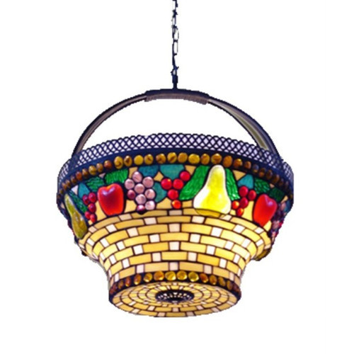 Leadlight Fruit Basket Pendent Lamp
