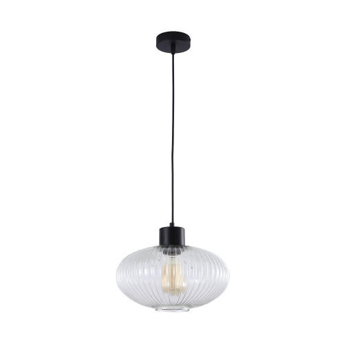 Mile Large Oval Clear Glass Suspension Light