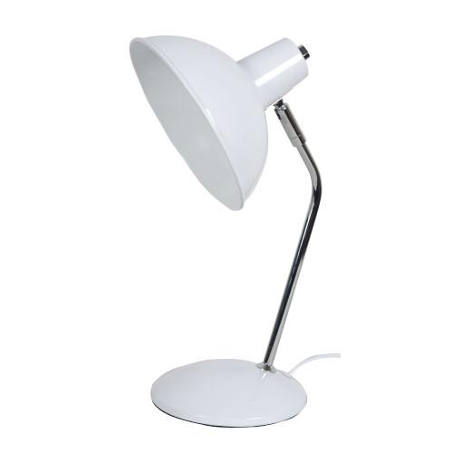 Freya White and Chrome Minimalist Desk Lamp