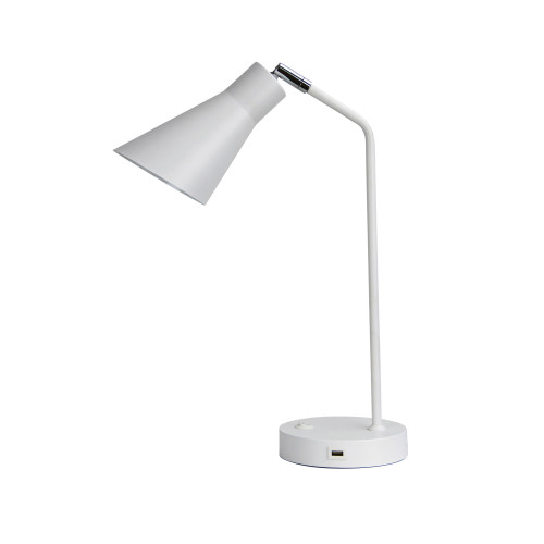 Odin White Desk Lamp with USB Charging