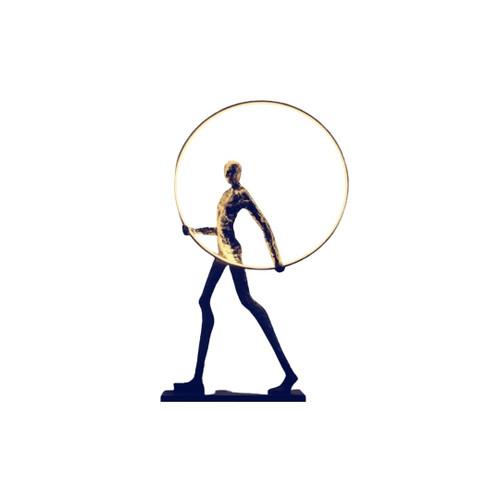 Art Statue Man and Ring Decorative Floor Lamp