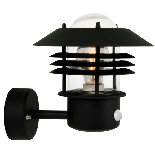Vejers Classic Black Outdoor Wall Light with Sensor
