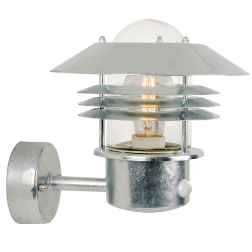 Vejers Galvanized Steel Outdoor Wall Light with Sensor
