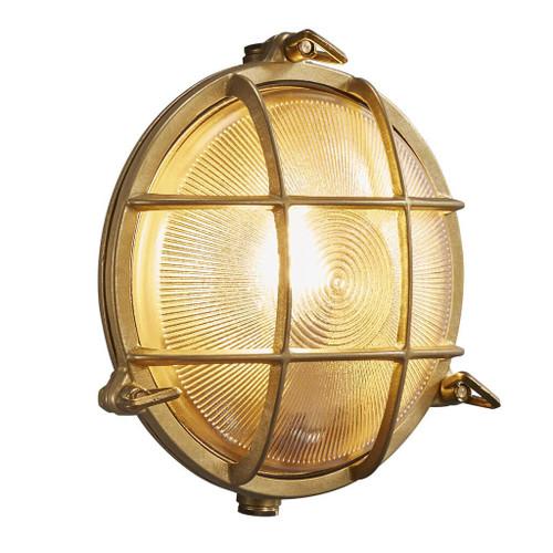 Polperro Brass Round Outdoor Wall Light