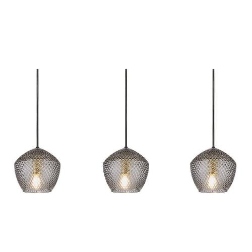 Orbiform Brass Smoked Glass Linear Pendant