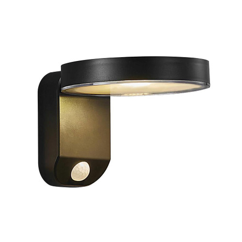 Rica Round Black Solar LED Wall Light with Sensor
