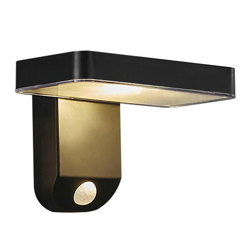 Rica Square Black Solar LED Wall Light with Sensor