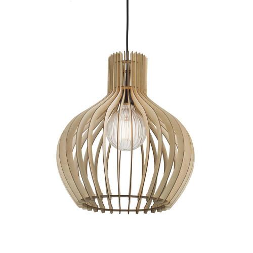 Groa 40 Wooden Slat Open Round Pendant Light