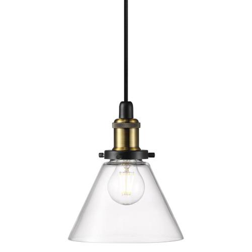 Disa Black Clear Glass Industrial Pendant Light