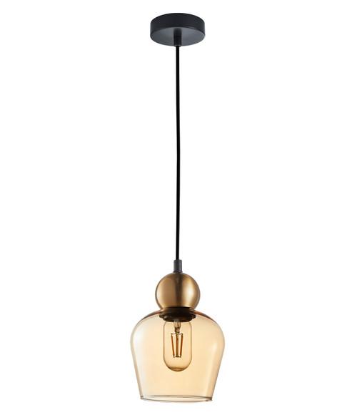 Organ Bronze Bell Amber Glass Pendant
