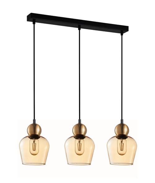 Organ Bronze Bell Amber Glass Linear Pendant