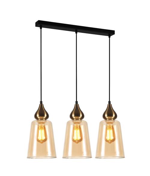 Crown Bronze Amber Glass Ellipse Linear Pendant