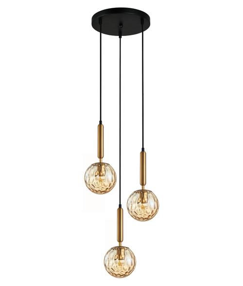 Toronto Amber Glass Spherical Cluster Pendant