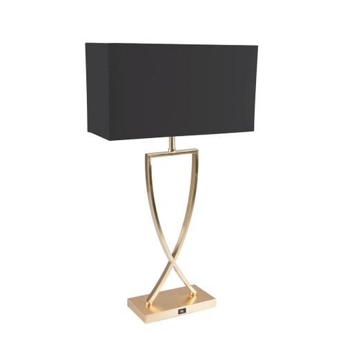 Giana Square Satin Brass Linen Table Lamp