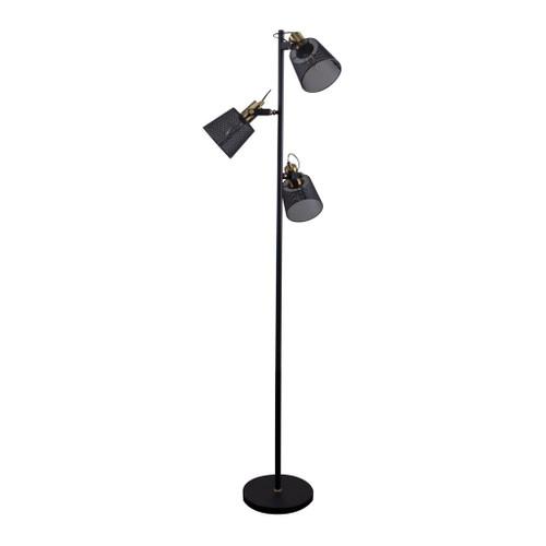 Rustica Black Three-Headed Mesh Floor Lamp