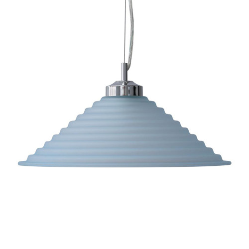 Step Blue Cone Art Deco Pendant Light