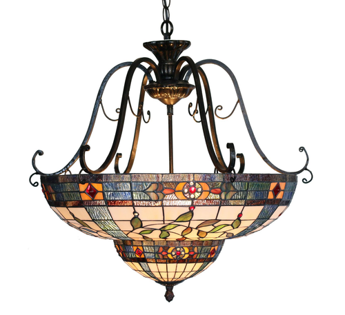Inverted Victorian Tiffany Pendant Light