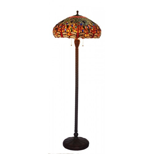 Fire Dragonfly Art Glass Floor Lamp