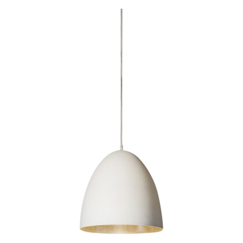 Egg White Label Silver Pendant Light