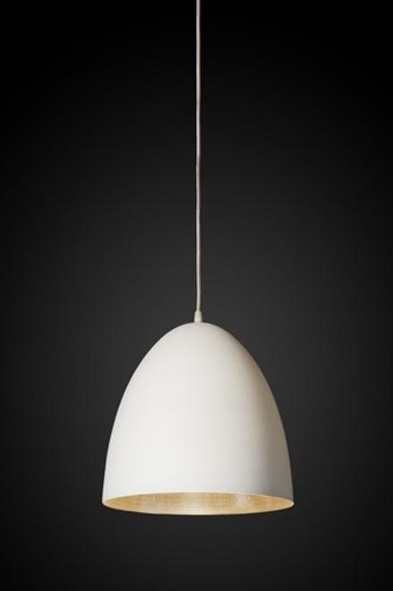 Egg White Label Silver Pendant Light