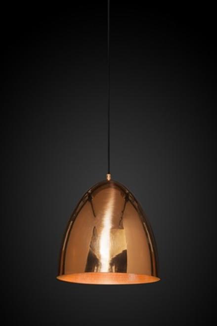 Egg Copper Pendant Light in a black background