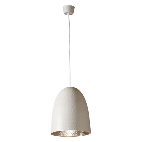 Dolce Beaten White Silver Pendant Light