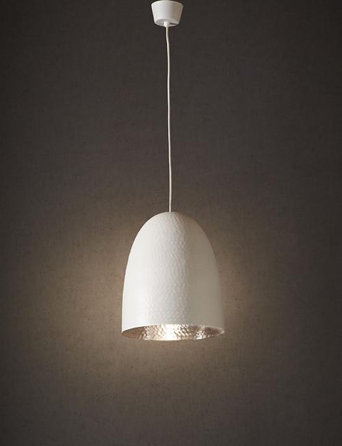 Dolce Beaten White Silver Pendant Light