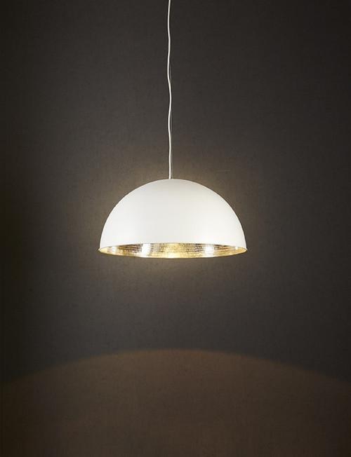 Alfresco Dome White & Silver Pendant Light