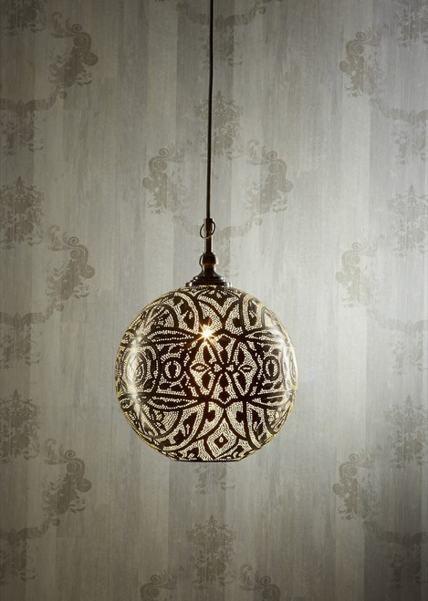 Moroccan Silver Ball Pendant Lamp