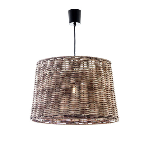 Wicker Round Hanging Pendant Light - Small