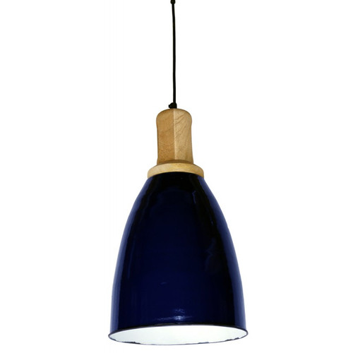 Wood Top Navy Iron Pendant