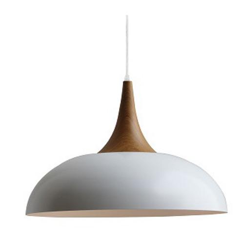 Nordic Wood Top Metal Pendant Light - White