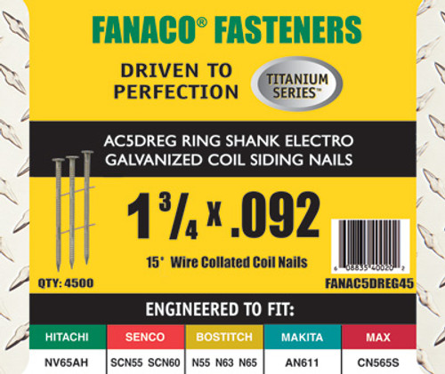 Fanaco 15 degree 1 3/4 X .092 Coiled Siding Nails