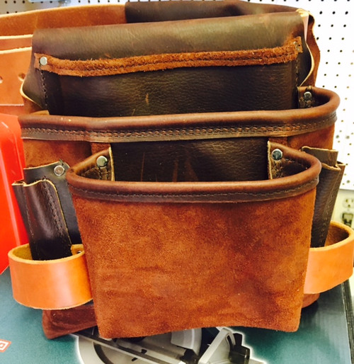 Amish Leather 3 Pouch Carpenter Bag