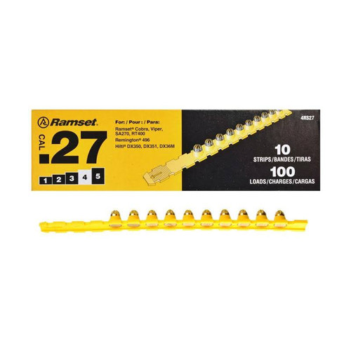 .27 Cal Yellow Strip Fastener Load (100 Loads/Box)