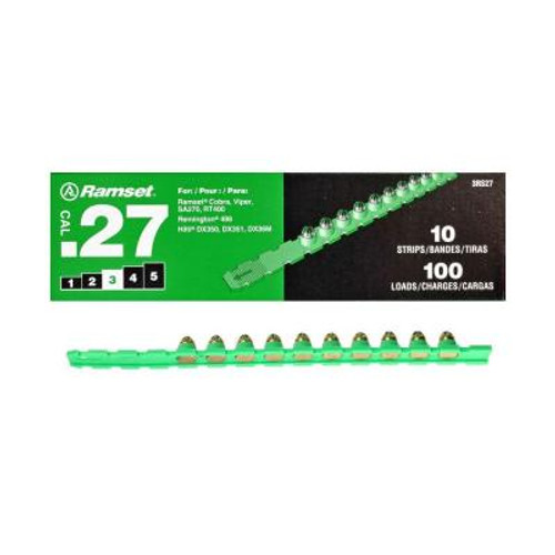 .27 Cal Green Strip Fastener Load (100 Loads/Box)