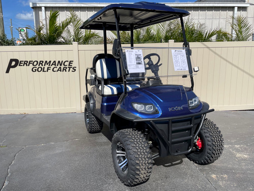 ICON i40L 4 Passenger Lifted Indigo Blue Golf Cart