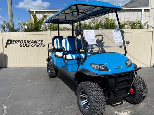 ICON i60L 6 Passenger Lifted Caribbean Blue Golf Cart