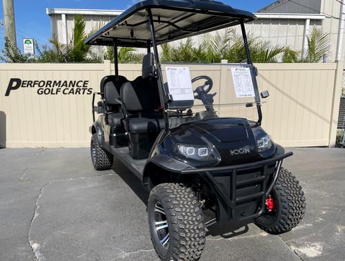 ICON i60L 6 Passenger Lifted Black Golf Cart - B