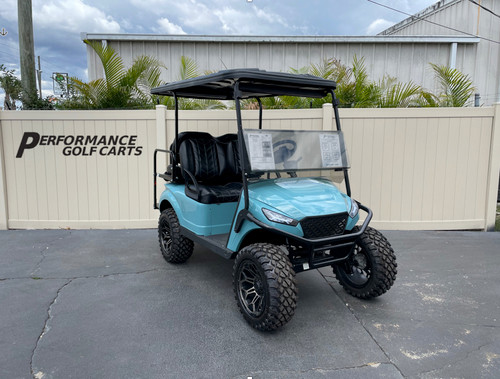 EZGO TXT 4 Passenger Lifted Custom Teal Golf Cart-#2250