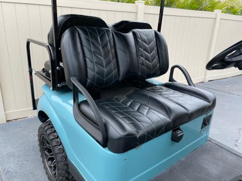 Premium Bolster Velocity Stitch Teal and Black Golf Cart Custom Seats