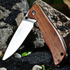 Enlan Bee L05-1 Stainless Steel Foldable Tactical Wooden Handle Flat Grind EDC Pocket Knife