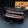 Long Square Men's Business Purse Mobile Phone Holder PU Leather Handbag Multi-function Zipper Clutch Men's Wallet