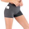 women in gray yoga shorts