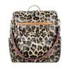 women brown leopard backpack