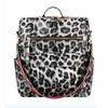 women's white leopard backpack handbag