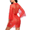 Womens Lace Kimono Babydoll Lingerie Mesh Nightgown