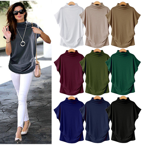 Women Short Sleeve Cotton Solid Casual Blouse Top Shirt