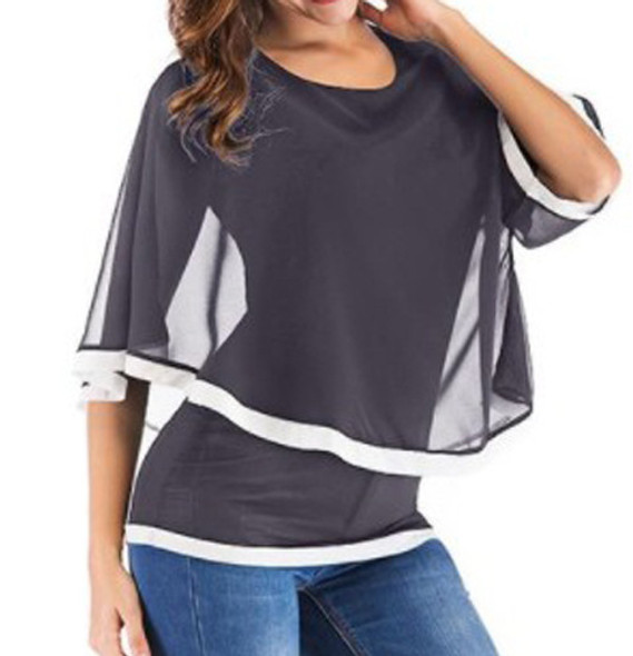 Women Casual Blouse T-Shirts Chiffon Tops Short Sleeve