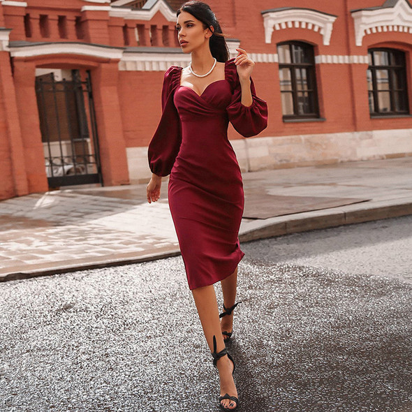 V Neck off Shoulder Bodycon Dress Women Club Party Midi Dress